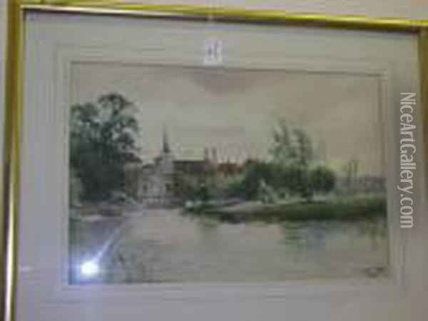 The Swan At Thames Ditton, Signed And Dated '97, Watercolour Oil Painting - Henry Charles Fox
