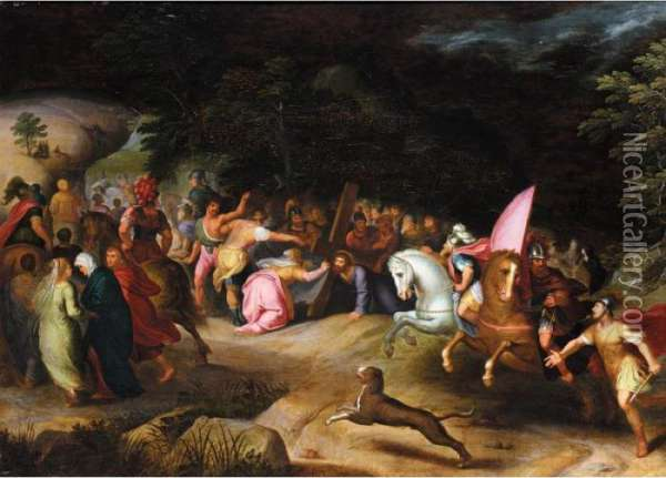 Saint Veronica Holding Out Her Veil To Christ On The Road To Calvary Oil Painting - Frans II Francken