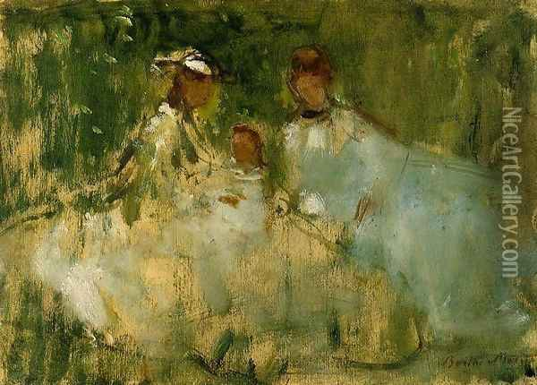 Women And Little Girls In A Natural Setting Oil Painting - Berthe Morisot