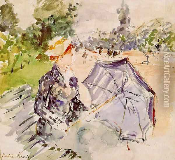 Lady with a Parasol Sitting in a Park 1885 Oil Painting - Berthe Morisot