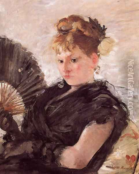 Woman with a Fan (Head of a Girl) 1876 Oil Painting - Berthe Morisot