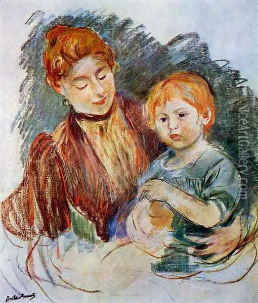 Woman And Child Oil Painting - Berthe Morisot