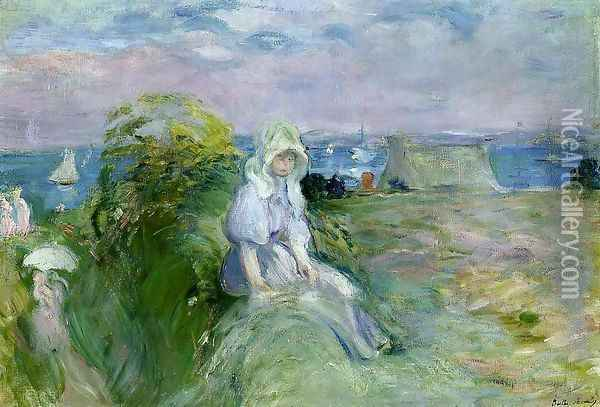 On The Cliff At Portrieux Oil Painting - Berthe Morisot