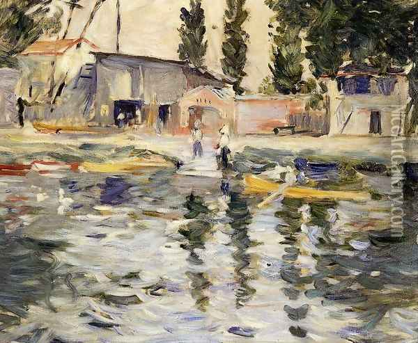 The Seine At Bougival Oil Painting - Berthe Morisot
