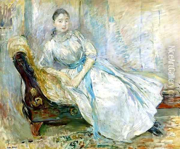 Madame Albine Sermicola In The Studio Oil Painting - Berthe Morisot
