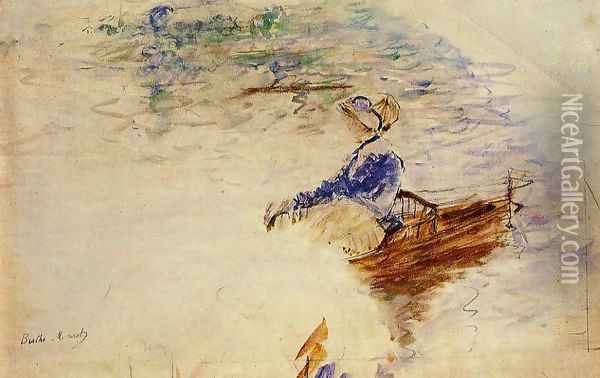 Young Woman In A Rowboat Eventail Oil Painting - Berthe Morisot