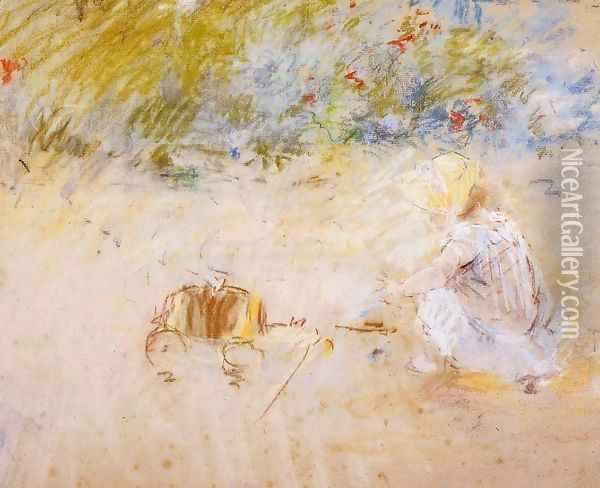 Child Playing in the Garden Oil Painting - Berthe Morisot