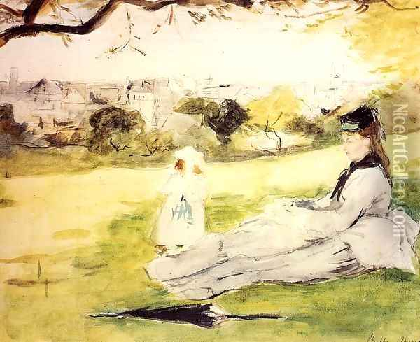 Woman And Child Seated In A Meadow Oil Painting - Berthe Morisot