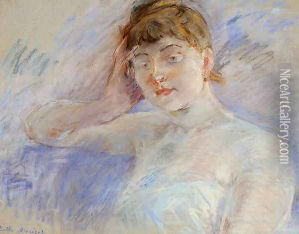 Young Woman In White Aka Isabelle Lemmonier Oil Painting - Berthe Morisot