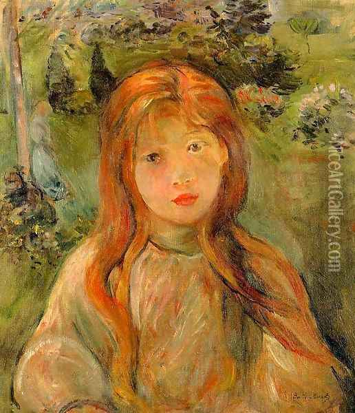 Little Girl At Mesnil (Jeanne Bodeau) Oil Painting - Berthe Morisot