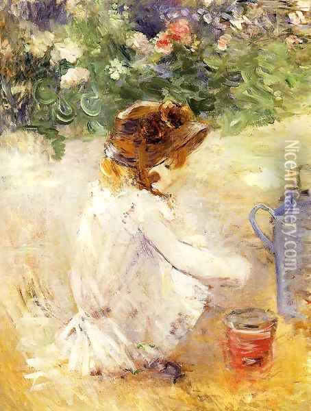 Playing In The Sand Oil Painting - Berthe Morisot