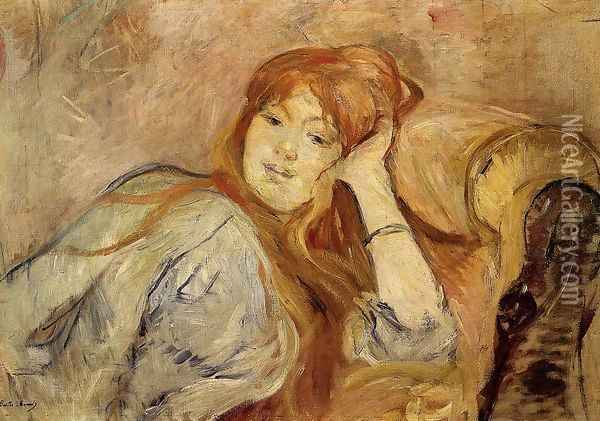 Young Woman Leaning On Her Elbow Oil Painting - Berthe Morisot