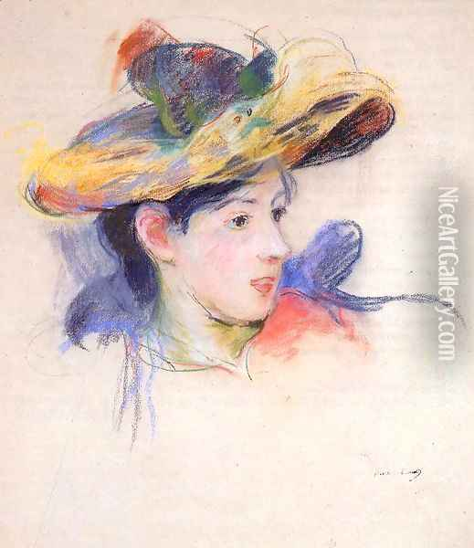 Jeanne Pontillon Wearing A Hat Oil Painting - Berthe Morisot
