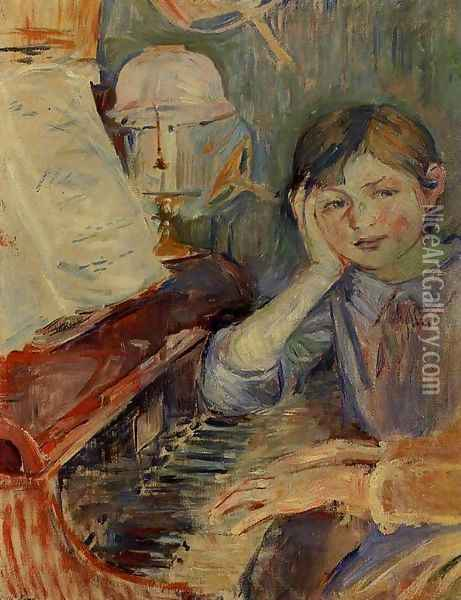 Julie Listening Oil Painting - Berthe Morisot