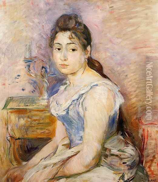 Young Woman In A Blue Blouse2 Oil Painting - Berthe Morisot