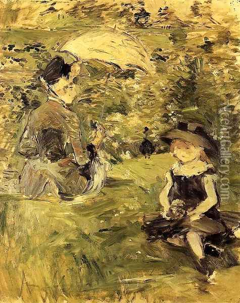 Young Woman And Child On An Isle Oil Painting - Berthe Morisot