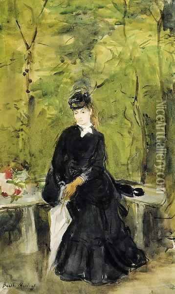 Young Lady Seated On A Bench Oil Painting - Berthe Morisot