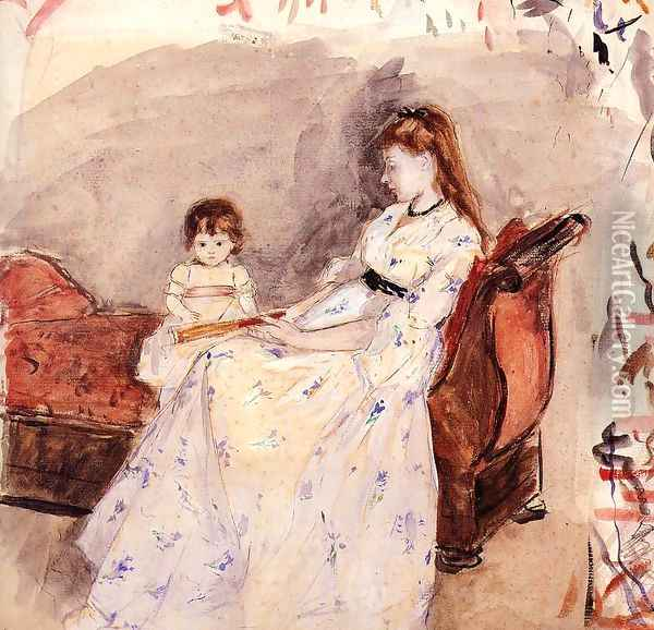 The Artists Sister Edma With Her Daughter Jeanne Oil Painting - Berthe Morisot