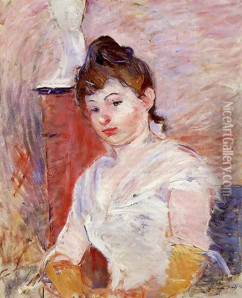 Young Woman In White Oil Painting - Berthe Morisot