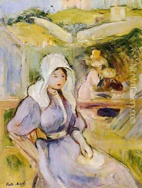 On The Beach At Portrieux Oil Painting - Berthe Morisot
