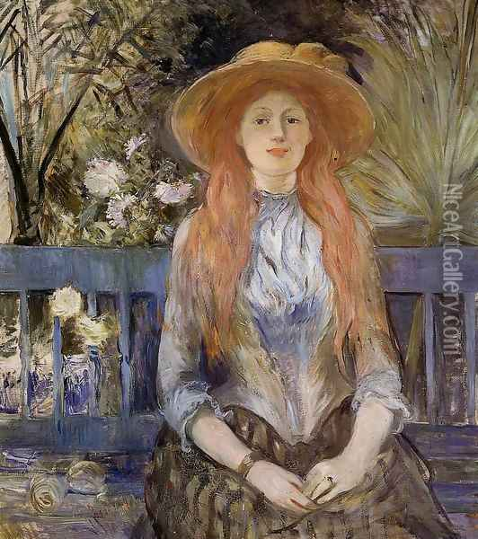 On A Bench Oil Painting - Berthe Morisot