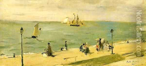 The Beach At Petit Dalles Aka On The Beach Oil Painting - Berthe Morisot