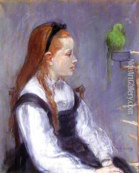Young Girl With A Parrot Oil Painting - Berthe Morisot