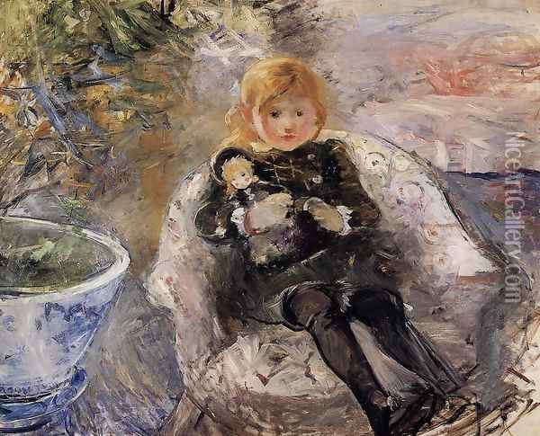 Young Girl With Doll Oil Painting - Berthe Morisot
