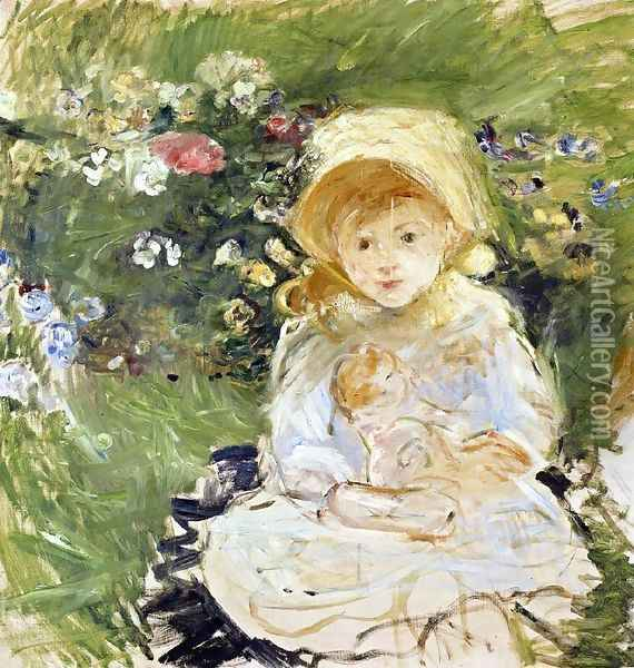 Young Girl With Doll2 Oil Painting - Berthe Morisot