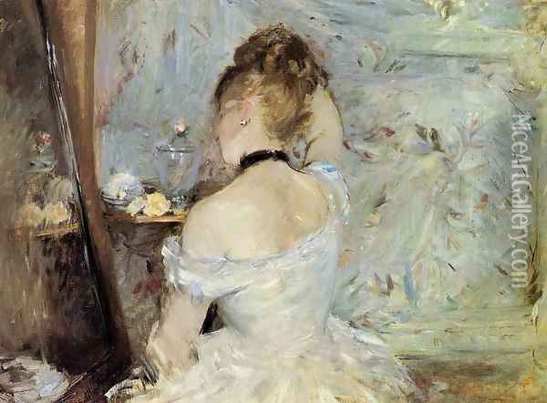 Young Woman At The Mirror Aka Young Girl Getting Dressed Seen From The Back Oil Painting - Berthe Morisot