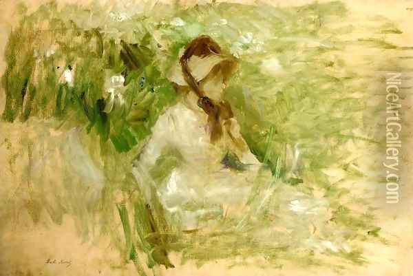 Young Woman Sitting On The Grass Oil Painting - Berthe Morisot
