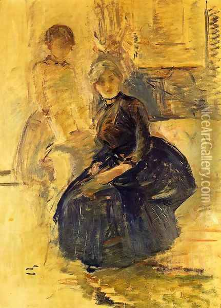 Self Portrait With Julie (study) Oil Painting - Berthe Morisot