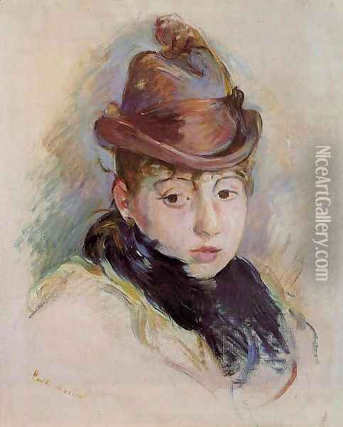 Young Woman In A Hat (Henriette Patte) Oil Painting - Berthe Morisot