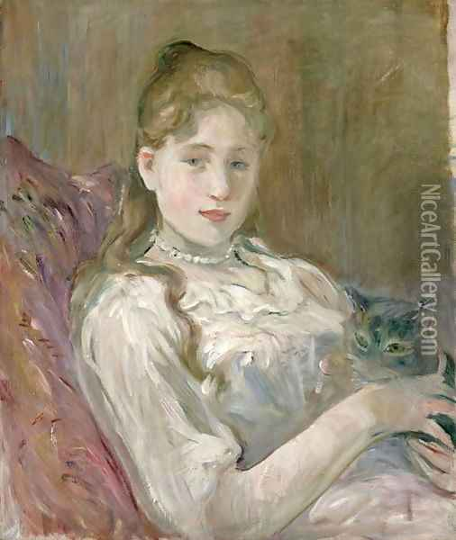 Young Girl with Cat 1892 Oil Painting - Berthe Morisot