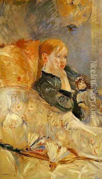 Little Girl With A Doll Oil Painting - Berthe Morisot