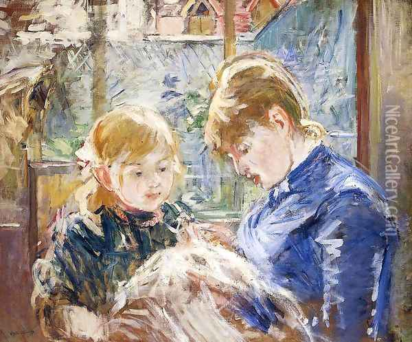 The Sewing Lesson Aka The Artists Daughter Julie With Her Nanny Oil Painting - Berthe Morisot
