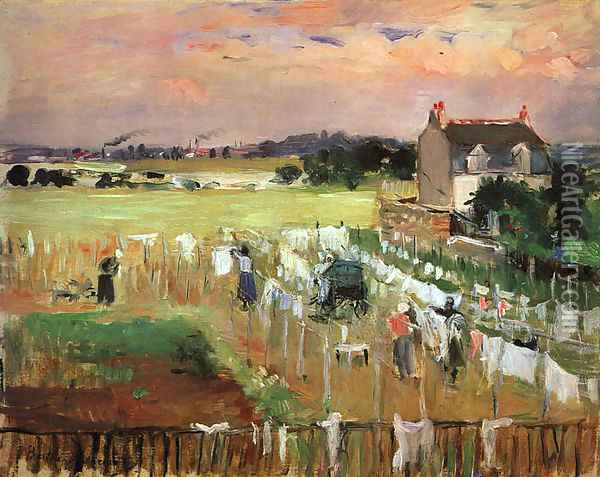 Hanging out the Laundry to Dry Oil Painting - Berthe Morisot