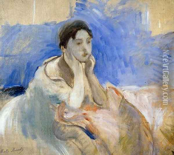 Young Woman Leaning On Her Elbows Oil Painting - Berthe Morisot
