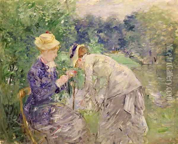 In the Bois de Boulogne Oil Painting - Berthe Morisot