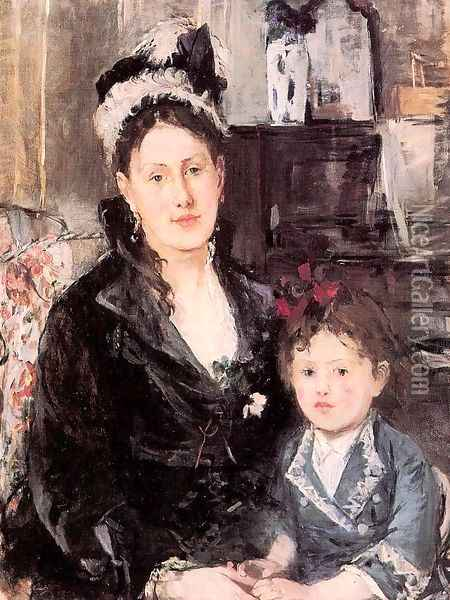 Portrait of Mme. Boursier and her Daughter 1874 Oil Painting - Berthe Morisot