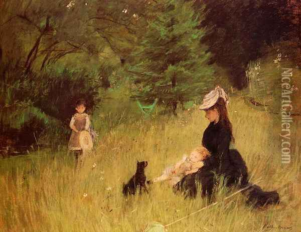 On the Lawn Oil Painting - Berthe Morisot