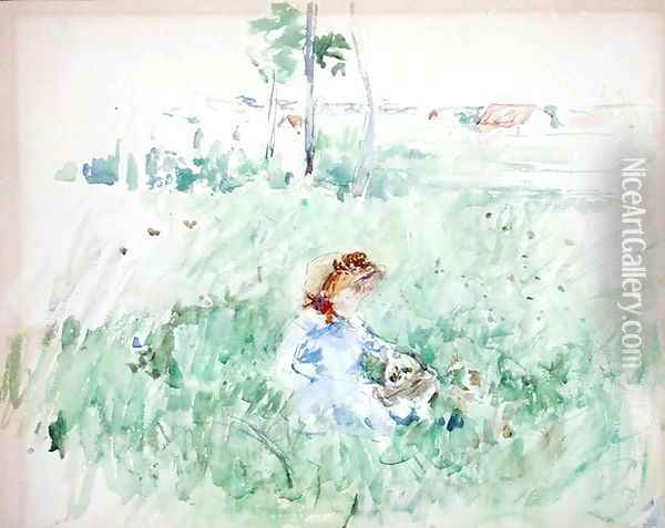 Young Girl Seated on the Lawn 1882 Oil Painting - Berthe Morisot