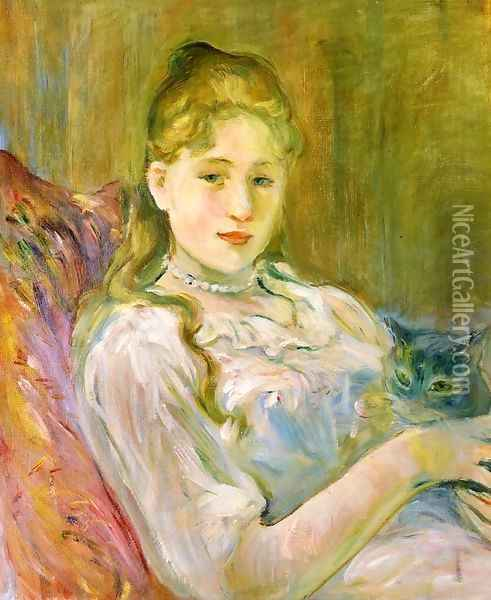 Girl with Cat Oil Painting - Berthe Morisot