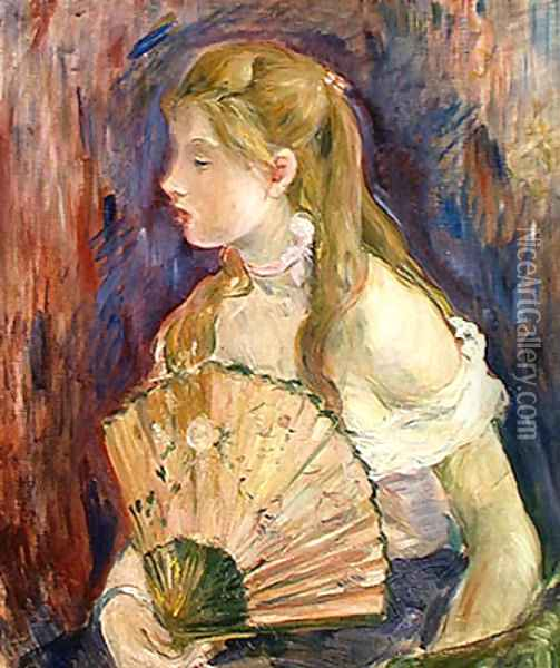 Young Girl with a Fan 1893 Oil Painting - Berthe Morisot