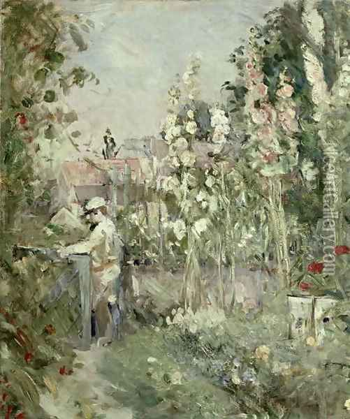 Young Boy in the Hollyhocks Oil Painting - Berthe Morisot