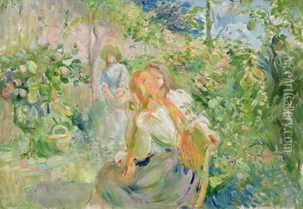In the Garden at Roche-Plate 1894 Oil Painting - Berthe Morisot