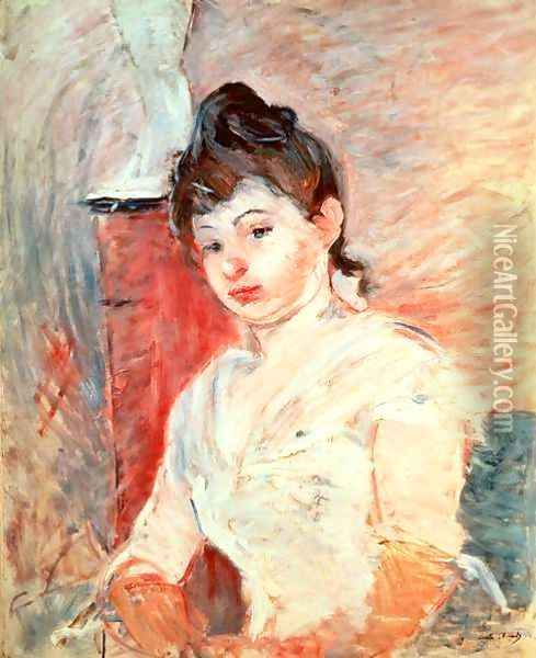 Young Girl in White Oil Painting - Berthe Morisot