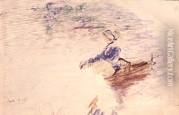 Sketch of a Young Woman in a Boat 1886 Oil Painting - Berthe Morisot