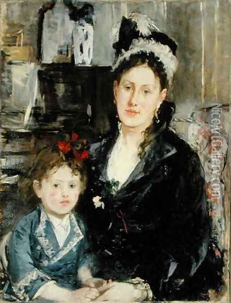 Mme Boursier and Her Daughter 1873 Oil Painting - Berthe Morisot