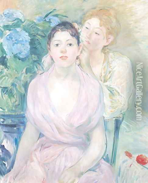 The Hortensia, or The Two Sisters, 1894 Oil Painting - Berthe Morisot